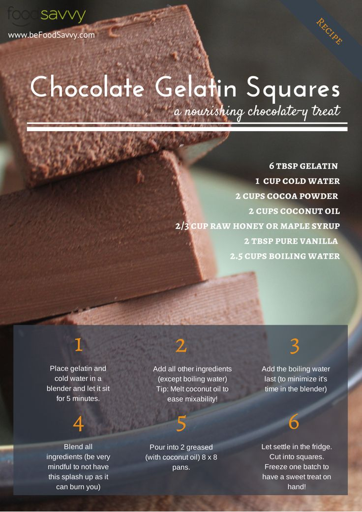 Chocolate gelatin squares: Lisa added coffee extra for a mocha flavor, and increased the maple syrup to 1 cup.