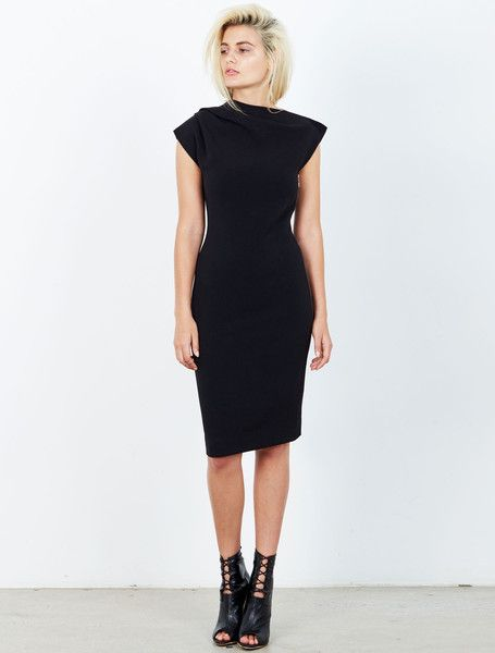 ISLA THEATRE DRESS from the Tribeca Collection. The ultimate in chic sophistication this LBD has a structured silhouette, with an edgy asymmetric sculptural neckline, and full length statement gold zip at the side. Your new day to night transformer. Fully lined. Available: www.islalabel.com  #islalabel #fashion #style #winter #dress #lbd #asymmetric #black