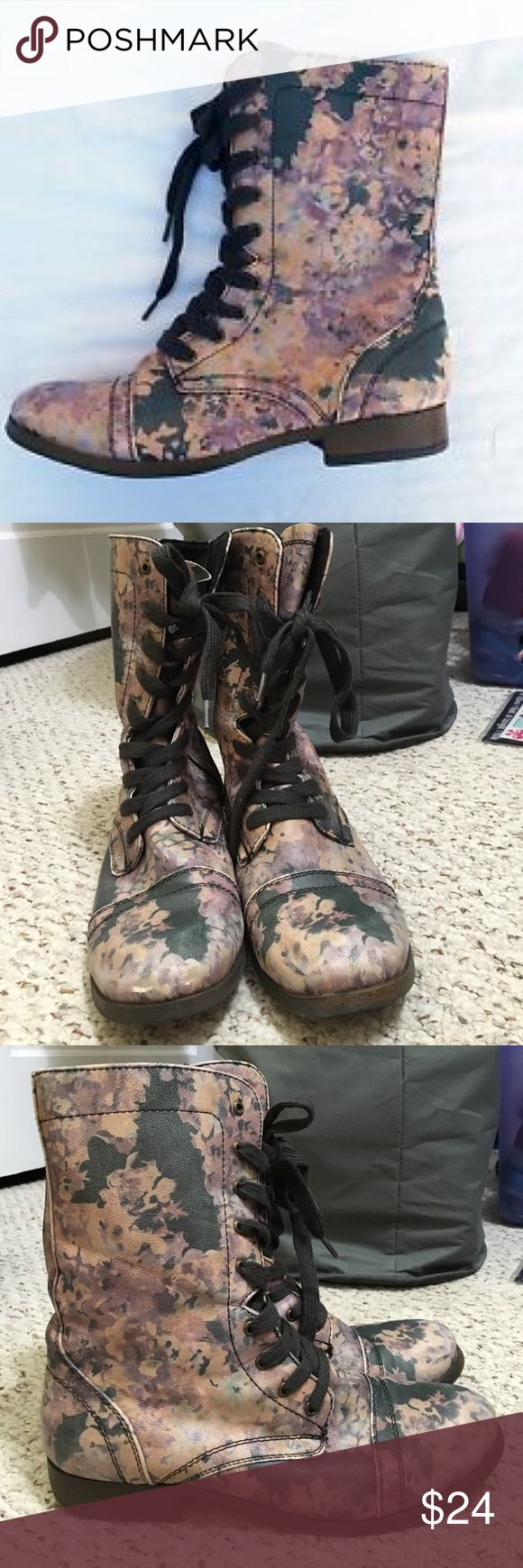 SALE ✨ Floral Combat Boots Super cute muted floral combat boots. Great condition, worn only a few times. Perfect for spring and very unique style! Listed as Steve Madden for exposure, these are from Mossimo Supply Co. Steve Madden Shoes Combat & Moto Boots