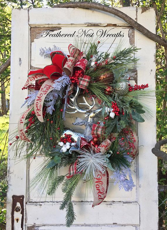 RESERVED FOR CAROL TIL 11/19 This Woodland Christmas Wreath was Created on a Grapevine Base. I have Layered it with an Assortment of Snowy and Icy Pine, Rustic Long Needle Pine, Pine with Small Sparkly Red Berries, Red Berries and White Flocked Berries. I have added a Graceful
