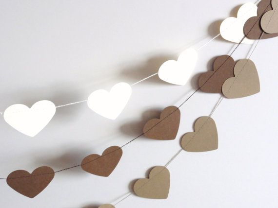 Brown Paper Heart Garland Party Banner 10 feet by ShastaBlue, $8.00