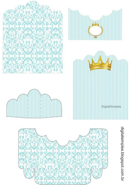 Golden Crown in Light Blue: Free Printable Candy Package Support.