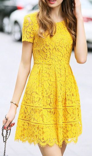 #summer #outfits / yellow lace dress
