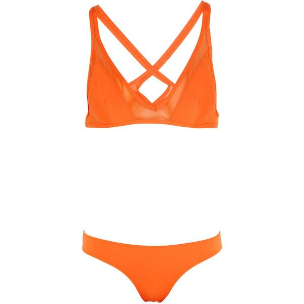 Ephemera - Citrus Twist Mesh-paneled Triangle Bikini ($100) ❤ liked on Polyvore featuring swimwear, bikinis, swimsuit, orange, one piece bathing suits, triangle swimsuit, 1 piece swimsuit, cut out one piece swimsuit and triangle bikinis