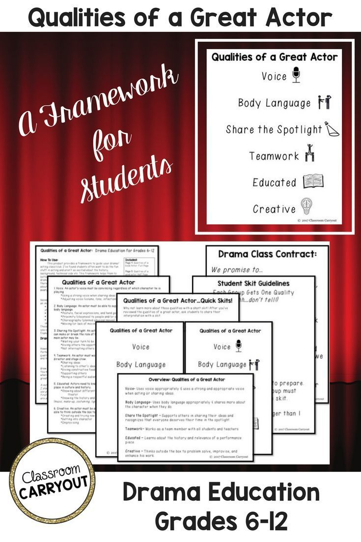 Provide a framework (behavior expectations) to guide your drama and acting class. Works for beginners and advanced students alike. Loved using this in my classroom because it connected to everything we did. Qualities of a Great Actor ~ Framework for Drama Education: Grades 6-12 Classroom Carryout at TeachersPayTeachers