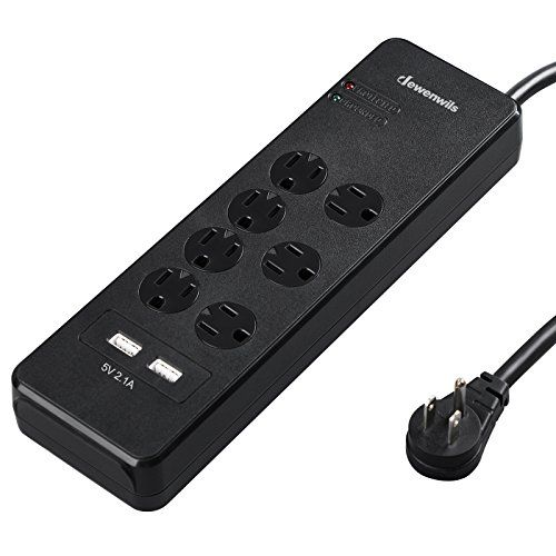 Dewenwils USB Power Strip Surge Protector 7 AC Outlet Smart 2.1A Dual USB Charging Ports 6FT 15A Heavy Duty Long Extension Cord with Flat Plug & Safety Cover, 1780 Joules, Wall Mount, UL Listed, Black  SURGE & OVERLOAD PROTECTION: 1780 joules surge protection provides premium protection for your electrical appliances from voltage fluctuations, surges and spikes; The overload protection & power switch on side will automatically cut off when the total current of connected devices exceeds...
