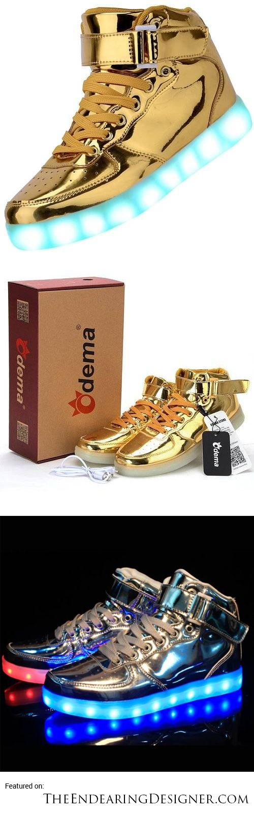 Odema High Top Gold & Silver Light Up Sneakers // 10 LED Shoes That Light Up At The Bottom And Change Colors Like Crazy [http://theendearingdesigner.com/10-led-shoes-that-light-up-at-the-bottom-and-change-colors-men-women/]