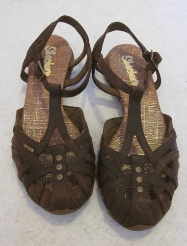 Skechers Caliper Sandals Covered Toe Dk Brown Slingback