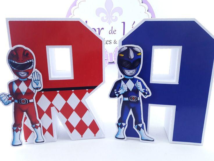 Letras 3D  Power Rangers    Aplique em todas as letras (Power Rangers e Mascara estampada)    14 cm de altura, lindas para compor a mesa.    Fazemos em todos os temas