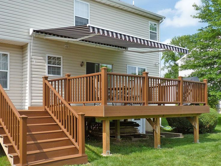 Awnings: Traditional Outdoor Deck Awning With Roof Tile And Patio Deck Awning Types In Front Side View from The Deck Awnings for the Best Relaxation Place #wooddeckcost