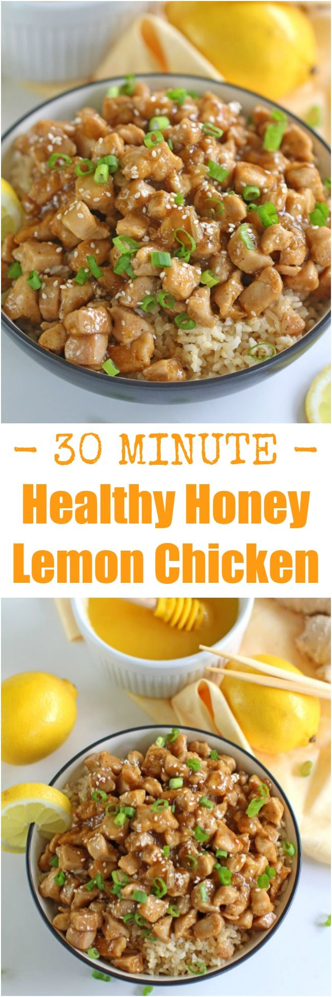 Healthy Honey Lemon Chicken is one of the fastest, most delicious and flavorful dinners you can make in 30 minutes! Not fried and with no processed sugar!