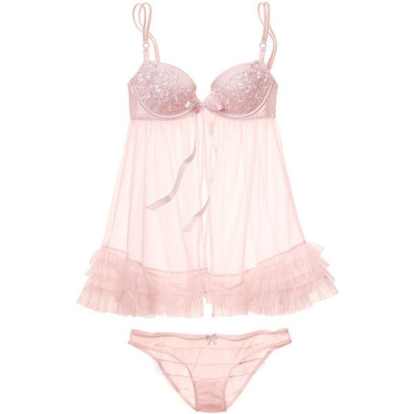 Victoria's Secret Bow Embroidered Babydoll ($50) ❤ liked on Polyvore featuring intimates, lingerie, underwear, ice pink, bow lingerie, pink babydoll lingerie, sexy lingerie, push up lingerie and frilly lingerie