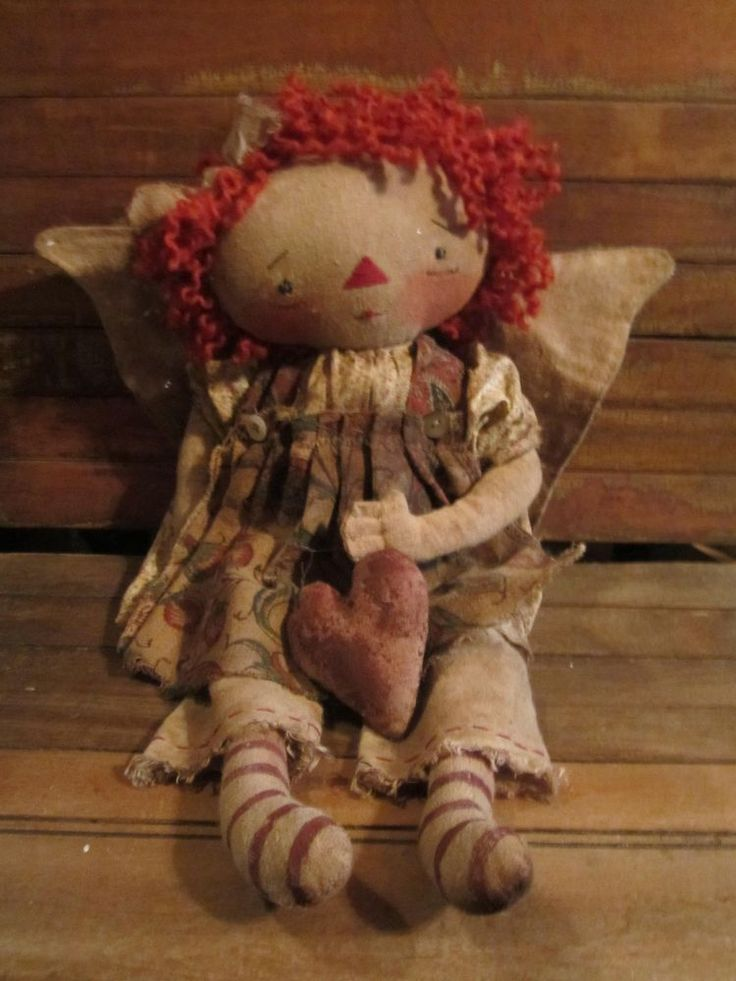 PRIMITIVE FOLK ART HANDMADE RAGGEDY ANN ANGEL DOLL #Primitive #Unknown