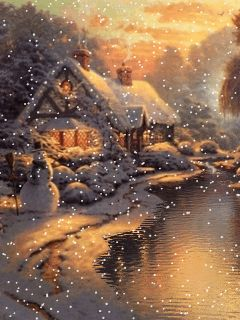 Download Animated 240x320 «Winter evening» Cell Phone Wallpaper. Category: Nature