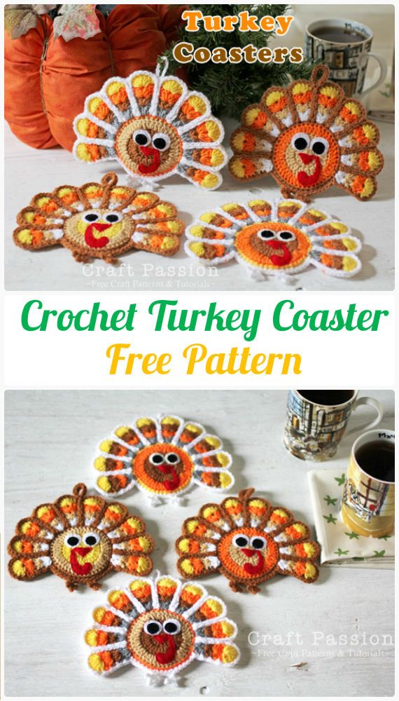 Crochet Turkey Coaster FreePattern- Crochet Coasters Free Patterns