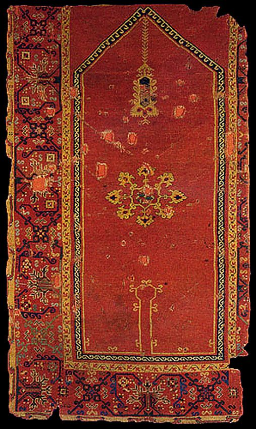 OTTOMAN CARPETS IN THE XVI - XVII CENTURIES (16-17TH CENTURIES)  Bellini keyhole carpet, 16th century, Turkey (Western Anatolia) Museum of Islamic Art, Berlin