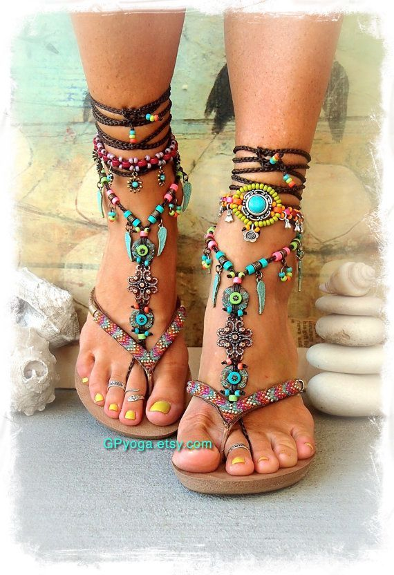 BOHO chic BAREFOOT sandals colorful Summer foot jewelry Turquoise Tribal Feet Gypsy Sandal Angel wing Garden Wedding Nature jewelry GPyoga