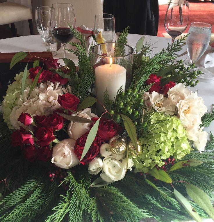 Christmas centerpieces with creamy white garden roses