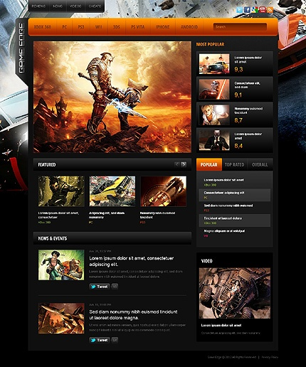 The 7 best Movies, Games  Music Portal Web Design Templates images - video game template