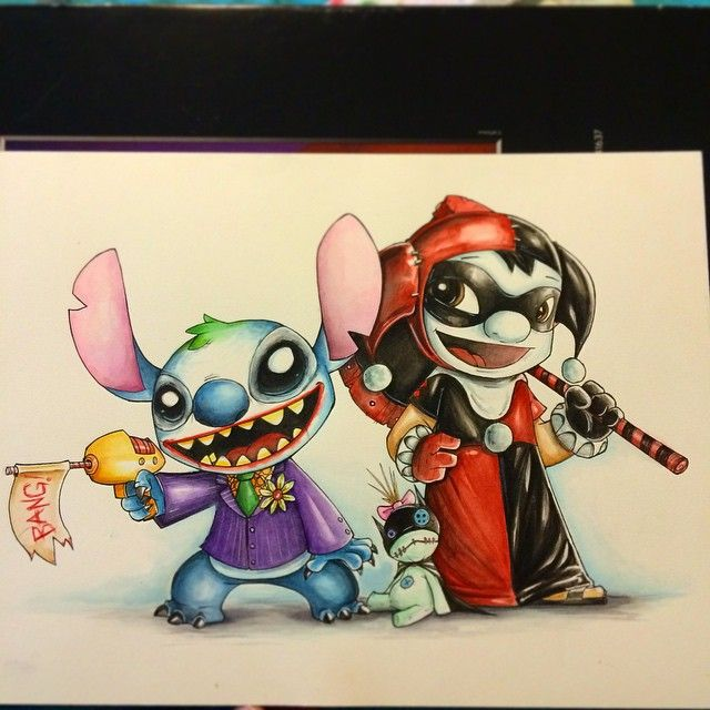 Mad Love - Lilo and Stitch as Joker and Harley. Had fun with this mash up…