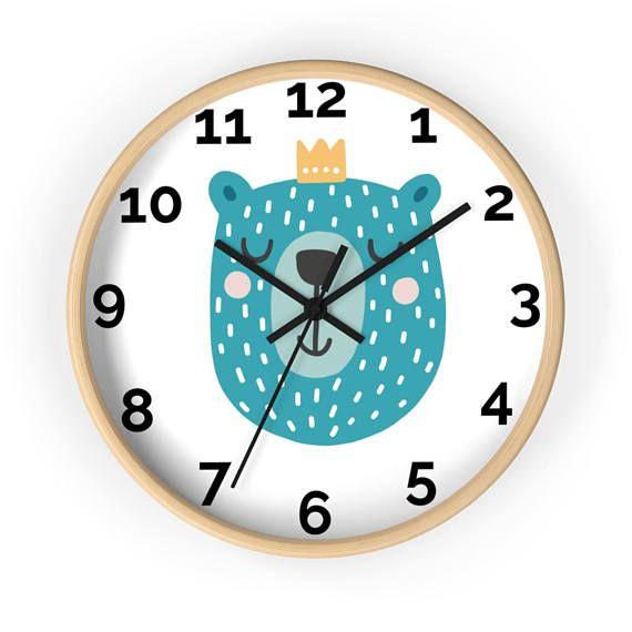 Kids Wall Clock/ Nursery Clock/ Clock For Baby Room/ Decorative Clock/ Cute Clock/ Bear Clock/ Wood Wall Clock/Black White Clock/Wall Clocks
