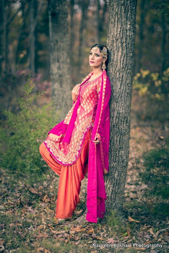 pink and orange patiala salwar kameez