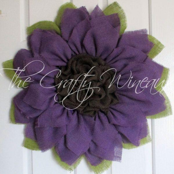 Purple Burlap Flower Wreath, Burlap Sunflower Wreath, Spring Wreath, Summer Wreath, Customizable Wreath - The Crafty Wineaux