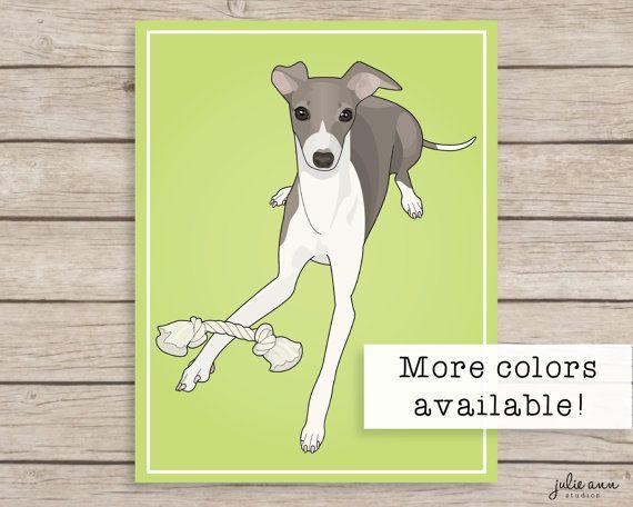 Italian Greyhound Art Print Greyhound Art by JulieAnnStudios, $14.00
