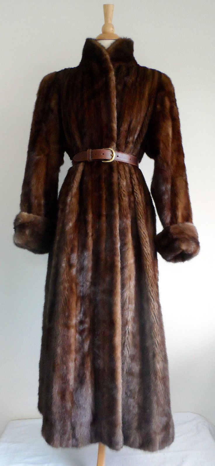 Vintage 50s Dark Brown Mink Fur Genuine Natural Long Swing Coat Jacket Lined s M | eBay