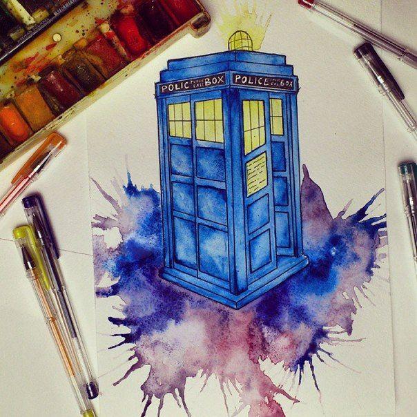 Tardis Art Draw Drawing Paint DoctorWho Fosssaaa Watercolor