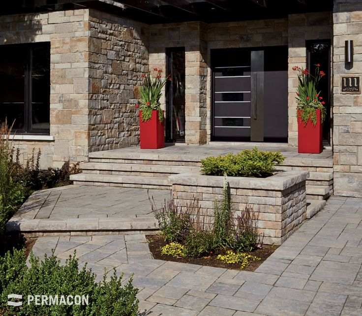 Wonderful front yard with Permacon landscaping products