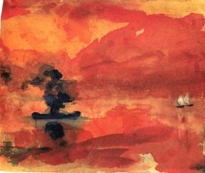 Red Sea with Steamship and Two Small Sailboats - Emil Nolde - The Athenaeum