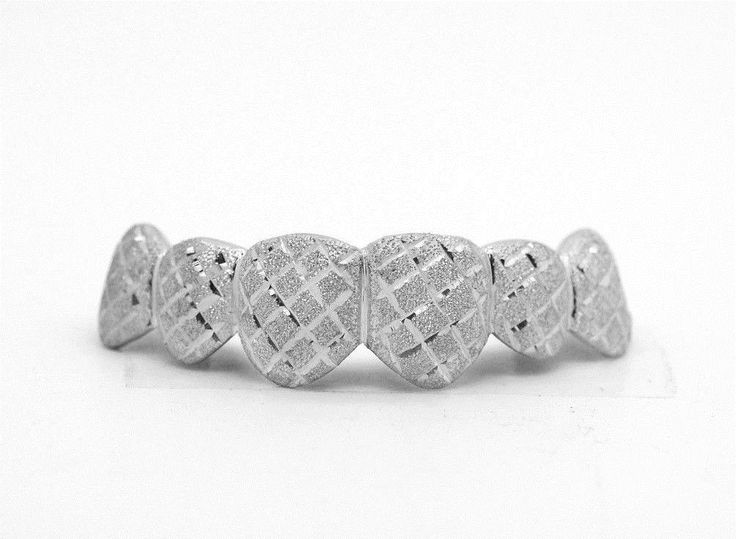 Grillz Dental Grills 152808: Custom 10K 14K White Gold Grillz Plated Diamond Dust Cuts Punchout Top And Bottom BUY IT NOW ONLY: $114.99