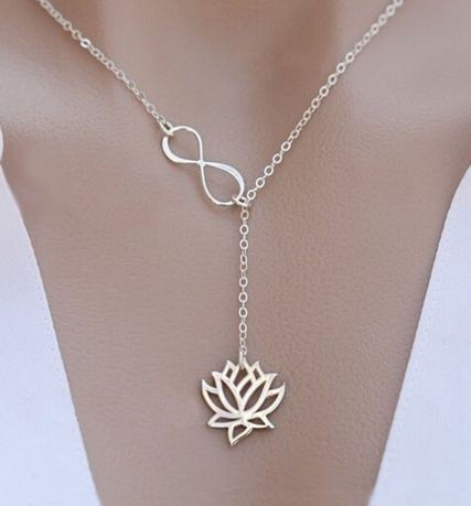 """Free - Necklace """" infinity"""" with lotus 2 different colors buddha, buddha jewelry, yoga, yoga jewelry, angels, angels jewelry, meditation"""