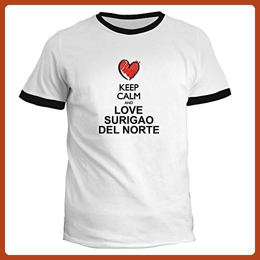 Idakoos - Keep calm and love Surigao Del Norte chalk style - Cities - Ringer T-Shirt - Cities countries flags shirts (*Partner-Link)