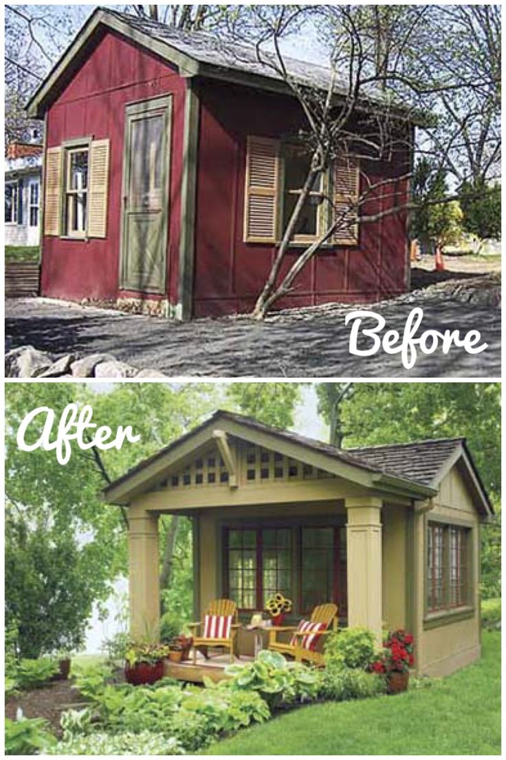 """Awesome way to do a """"guest room"""" if your house is too small. This started out as a 12x12 shed. They added the porch, salvaged cottage windows and split shingle roof."""
