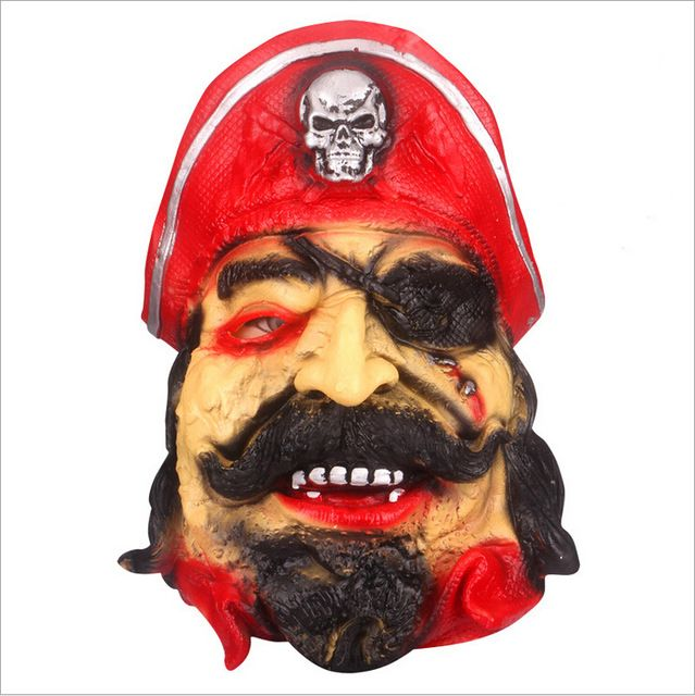 ANGRLY 1 Piece Red One Eyed Pirate Halloween Costumes Mask Cosplay Ghost Mask Horror Ghost Halloween Mask