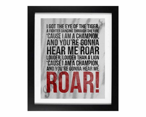 "Song Lyric Digital Printable - Instant Download: ""Roar"" by Katy Perry"