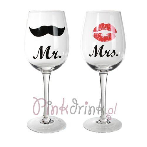 KIELISZKI do wina Mr & Mrs 2szt. DUŻE