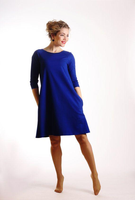 7184533422d Long sleeve blue dress midi casual dress A line dress with