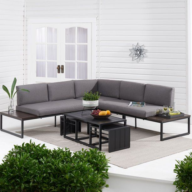 Better Homes Gardens Kolton Patio Furniture Sectional Set Walmart Com In 2020 Sectional Patio Furniture Patio Sectional Patio Furniture Sets