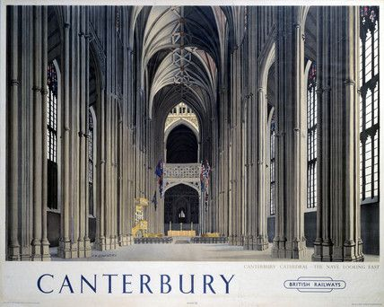 'Canterbury Cathedral - The Nave looking East ', BR (SR) poster, 1948.