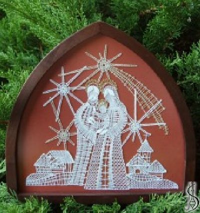 Nativity scene No. 10997a     Dark frame with glass,terracotta canvas backgroun. Dimensions 22 x 21 cm Selection possibilities: dark / light frame with glass Background canvas: green, brown , terracotta Price: € 85 ............................  Protected by copyright!