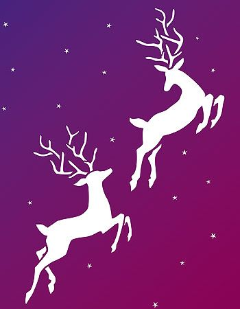 reindeer stencil | - the Large Reindeer Stencil silhouette style in Ice White Stencil ...