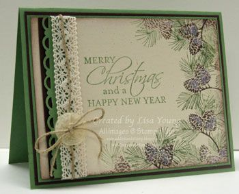 """By Lisa Young. Ink pine branch stamp from """"Autumn Days"""" by Stampin' Up with green and brown markers. Stamp around edges of ivory cardstock panel as shown. Stamp sentiment. Sponge edges of panel. Add scallop trim border (punched) on black strip, lace, twine, button. Mat on green and black. Attach to green card base."""