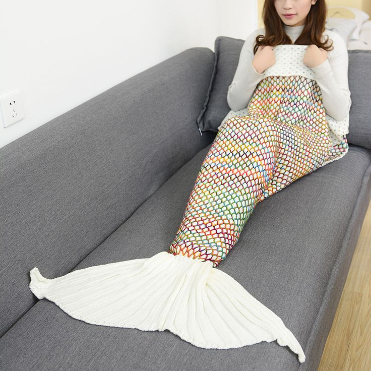 90x180cm Mermaid Tail Adults Air Conditioning Sofa Sleeping Bed Colorful Grid Crochet Knitted Crochet Mermaid Blanket  #Affiliate