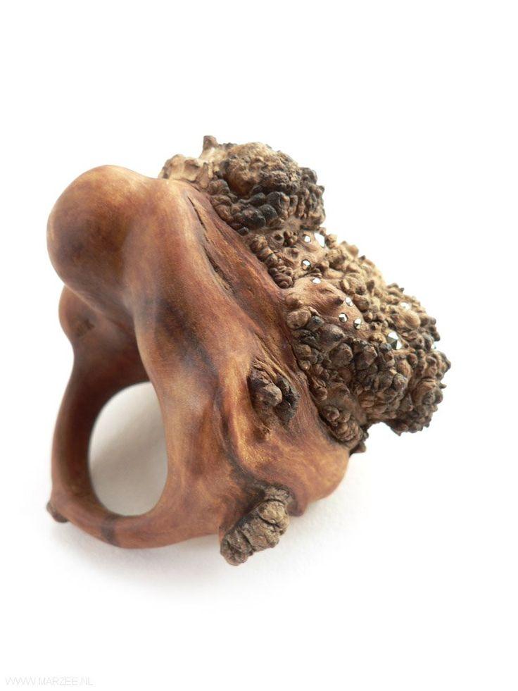 Jenny Klemming - Multiflora, ring, 2012, apple wood, markacites - 55 x 46 x 48 mm, €1100