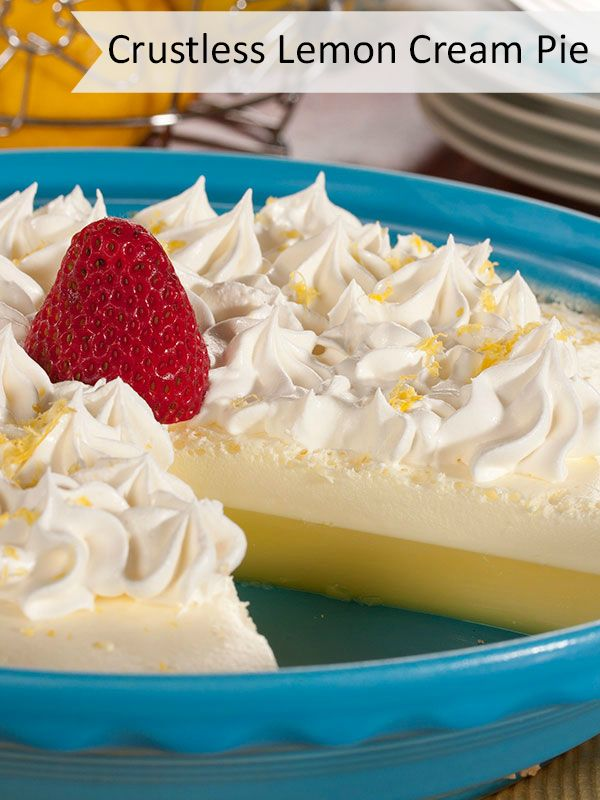 Crustless Lemon Cream Pie | This low carb and low fat pie recipe is light and tasty!