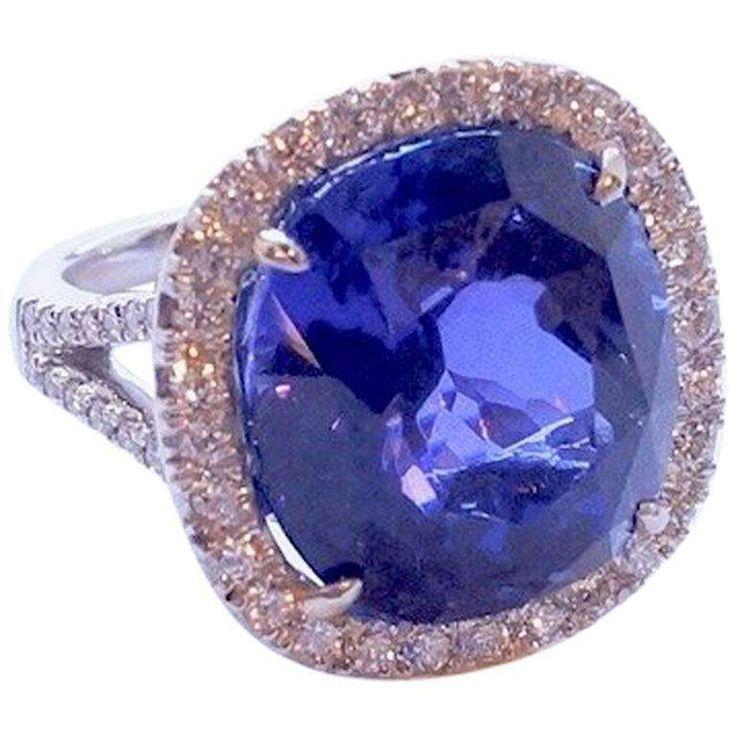 16.81 Carat Cushion-Cut Tanzanite and White Diamond Platinum Ring 1