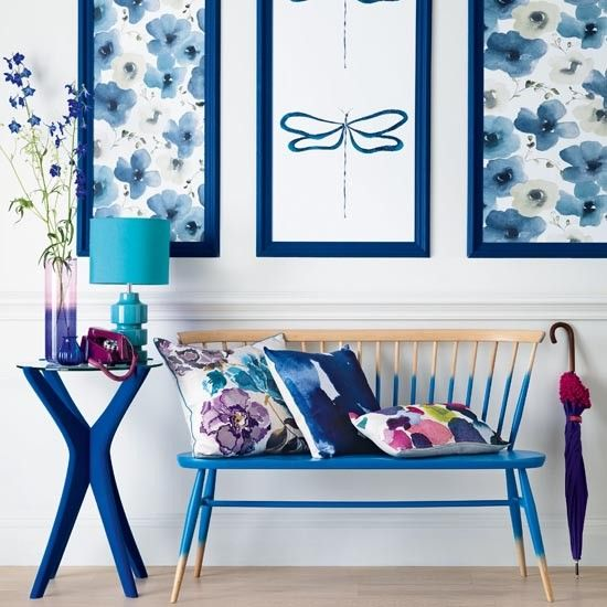 Painted bench | Bold moody blues entrance | Traditional hallway ideas | Hallway | Ideal Home | Housetohome.co.uk